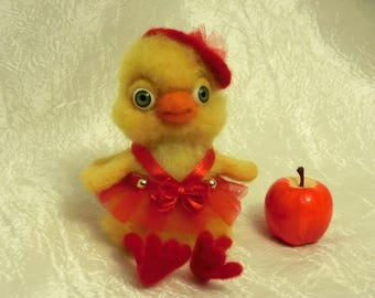 Felted chicken from the wool