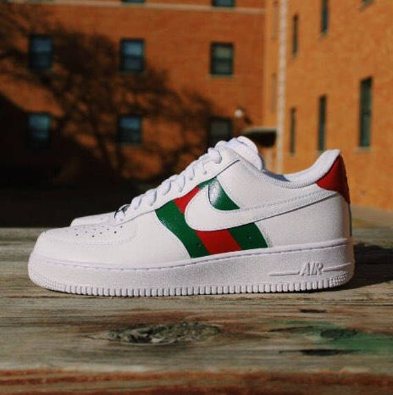 Nike Air Force 1 Gucci Custom Design Haind-painted Gucci Red