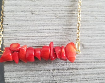 Coral and Gold Bracelet