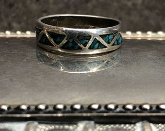 Vintage Sterling Silver and Turquoise Band Ring Size 7