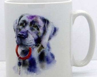 Me Too - Ceramic Black Labrador Dog Mug. Handmade printed onto Durham style mug from an Original Sheila Gill Watercolour