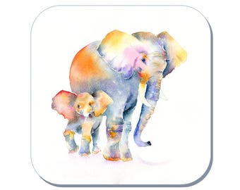 Me and my Mum, Elephant - Coaster (Corked Back). From an original Sheila Gill Watercolour Painting