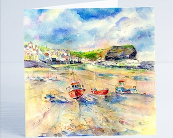 Staithes North Yorkshire - Greeting Card by Sheila Gill