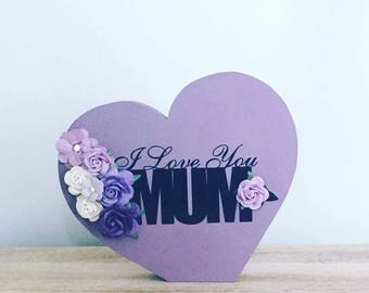 Mother's Day gift free standing heart with paper flowers home decor/gifts/mothers day/bedroom decor/flower/floral/shabby chic