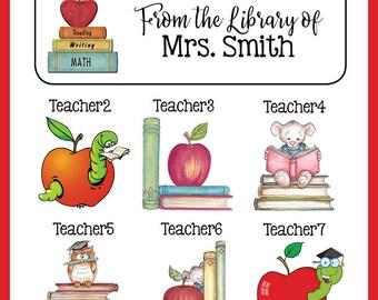 Personalized TEACHER BOOK or Return ADDRESS Labels, Teacher, Apple, Read, Sets of 30
