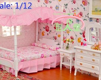 1/12 dollhouse miniature bedroom bed, night stand, dresser mirror;Set 3 furnitures