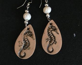 Polymer Clay Seahorse Faux Fossil Earrings