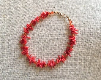 Orange coral stick beads, orange carnelian beads, hand strung with 14K gold filled findings, semi precious stones