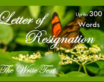 Letter of Resignation, Resignation Notice, Resignation Letter, Writing  Service, Custom Writing, Professional Writing, Writing Assistance