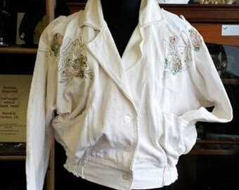 80's White Denim Jacket Pearl trim