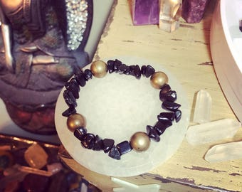 Black Obsidian and Gold Druzy Bracelet