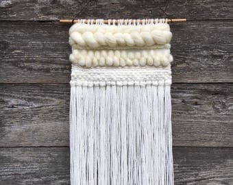 WHITEOUT / White Woven Wall Hanging / Cream Handwoven Tapestry