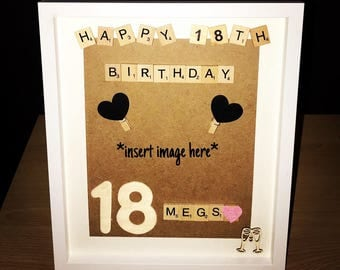 Personalised 18th Birthday Scrabble Frame