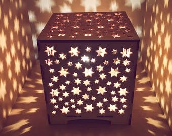 Wooden star box lamp 170 mm