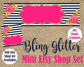 Navy Blue. Pink. Gold Glitter. Mini Etsy Shop Set. Flowers. Boho Chic. Etsy Cover. Etsy Icon. Do It Yourself. Branding. Graphics. Customize.