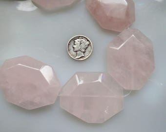 Rose Quartz Faceted Flat Nugget Slab Chunky Beads Avg Size 30 x 38mm, 3 Pcs