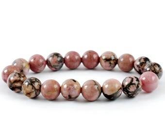 Rhodonite Bracelet, Rhodonite Bracelets 10 mm, Fertility Bracelets, Calming Bead Bracelet, Rhodonite Crystals, Gift For Her, Rhodonite