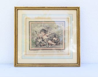 New Crayon Manner Style Frame By Gilles Demarteau Number 492 - Cherub