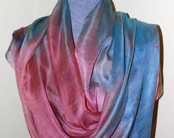 Silk Scarf,100% Natural Silk,Lightweight Scarf/Wrap,Hand Painted Scarf,Long Scarf