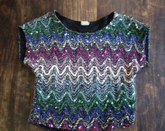 Rainbow Sequin Top