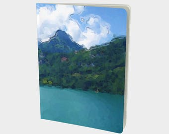 "Journal (Large) Serene landscape ""Vibrant Lake"" by Malinee Ganahl. Notebook, Sketchbook. Plain, ruled, grid, or bullet pages. 7.25""x10"""