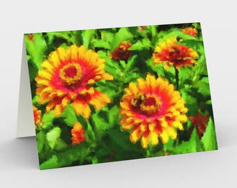 "Notecards: Vibrant, Modern Illustration ""Bee in Flower Bed"" by Malinee Ganahl. Bright red, yellow, green garden. Set of 3 with envelopes."