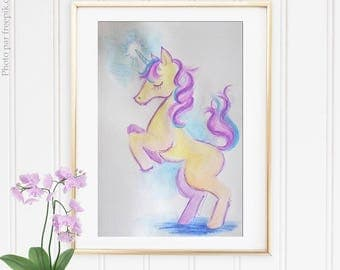 """Unicorn"" A5 original Watercolour / / OOAK original watercolor ""Unicorn"" A5"