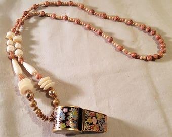 "Vintage handmade  16"" cloisonne whistle necklace"