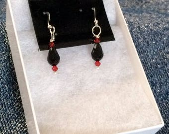 Swarovski Crystal, Black & Red, Sterling Silver Earrings