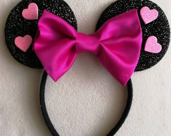 Pink Valentines glitter heart minnie mouse ears.