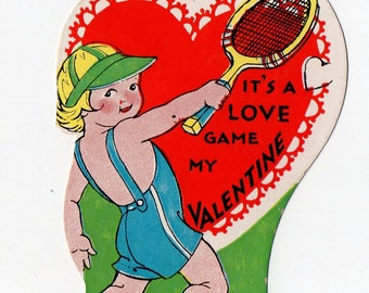 Vintage Tennis Valentine | Sports, Sport, Racquet, Racket, Greeting Card | Valentine's Day, Valentines, Children | Paper Ephemera