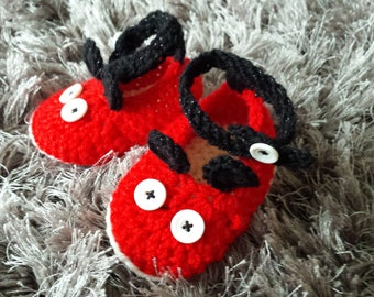 New Hand Knitted Crochet Baby Booties, Shoes, Gifts inspired by Mickey Mouse