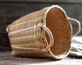 French vintage basket. Dustbin basket. French wicker basket. French woven basket. Bohemian basket. Picking basket. French sewing basket.