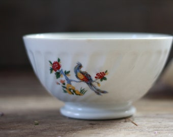 """Lovely. French vintage porcelain bowl """"Café au lait"""". French bowl 1940's. Bowl with drawing peacocks. DIGOIN. French bowl. French dishware."""