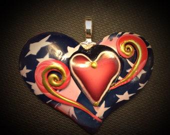 Red 'Warrior' Heart Pendant - Active Addiction