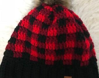 Adult Crochet plaid hats