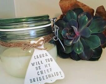 Personalised bridesmaid gift / will you be my bridesmaid / bridal party gift