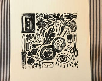 catch-all block print | hand-made linocut print