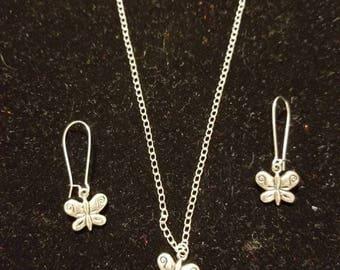 "Boutique...Order Now for Valentine... Silver Alloy Small Dainty Butterflies Charm  18"" Silver Coated Necklace with Matching Earrings Set"