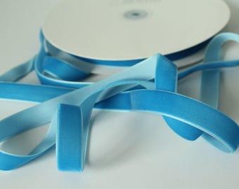 5/8 inch Batik Blue VELVET Ribbon by the Yard / 16 MM Velvet Ribbon / Velvet / Batik Blue / ER-VV068
