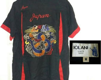 IOLANI Vintage Hawaiian 90s Japan Sukajan Graphic Shirt. Medium size