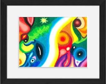 Awareness, 21x29.7 framed oil Pastel