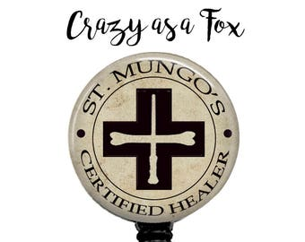St. Mungo Certified Healer Retractable Badge Holder, St Mungo's Badge Reel, Lanyard, Stethoscope ID Tag, Nurse, MD,  Harry Potter inspired