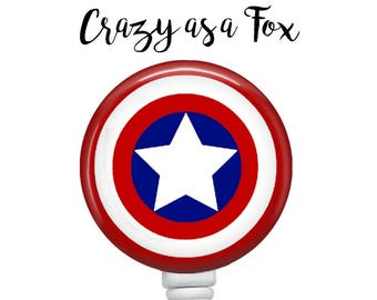 Captain America Retractable Badge Holder, Badge Reel, Lanyard, Stethoscope ID Tag, doctor, md, pa, cna  Nurse, rn, teacher, student  Gift