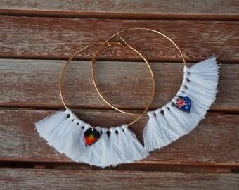Hoop Tassel Earrings with Aboriginal and Australian Flags