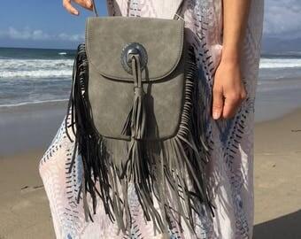 Leather bag, fringe bag, fringe clutch, shoulder bag, womens bag, crossbody bag, handbag, boho bag, festival bag, purse, bohemian bag