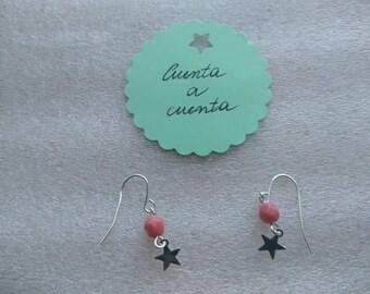 Star earrings, pink earrings, fashion earrings, original earrings, stylish earrings, fashion woman, sophisticated woman