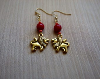 Handmade Lion Earrings ~ Animals ~ Gifts for her ~ Valentine's Day ~ Girlfriend Gift ~ Golden Earrings ~ Dangle Earrings ~ Birthday