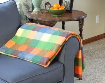 vintage colorful plaid felt throw blanket