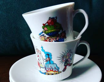 set of 2 Asterix & Obelix teacups Dargaud 1973